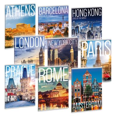 Füzet ARS UNA A/4 40 lapos Extra kapcsos kockás Cities Of The World 20