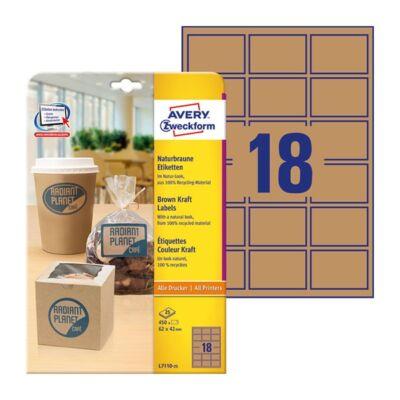 Etikett AVERY L7110-25 62x42mm termék címke környezetbarát barna 450 címke/doboz 25 ív/doboz