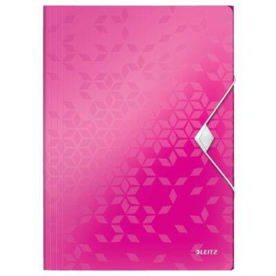 Gumis mappa LEITZ Wow A/4 műanyag rózsaszín