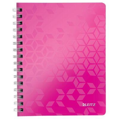 Spirálfüzet LEITZ Wow A/5 80 lapos vonalas rózsaszín