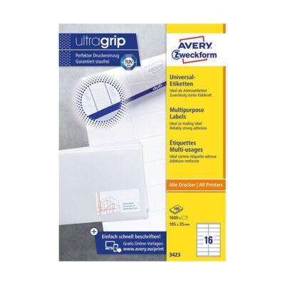 Etikett AVERY 3423 105x35mm univerzális 1600 címke/doboz 100 ív/doboz