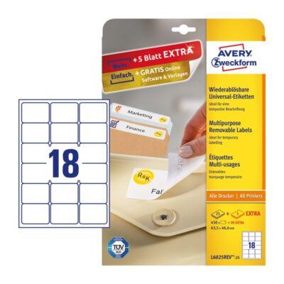 Etikett AVERY L6025REV-25 63,5x46,6mm univerzális visszaszedhető fehér 540 címke/doboz 30 ív/doboz