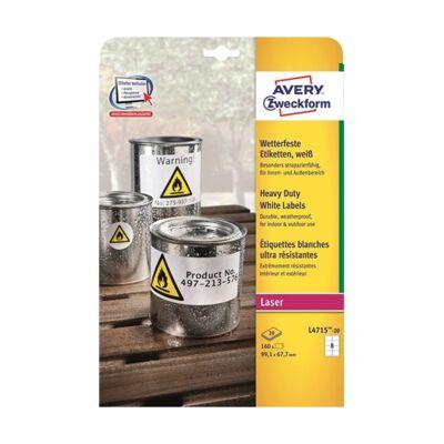 Etikett AVERY L4715-20 99,1x67,7mm fehér időjárásálló poliészter 160 címke/doboz20 ív/doboz