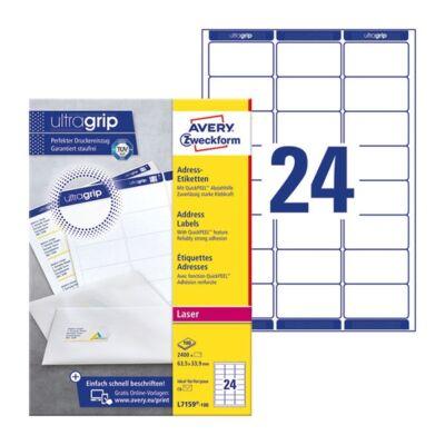 Etikett AVERY L7159-100 63,5x33,9mm univerzális 2400 címke/doboz 100 ív/doboz