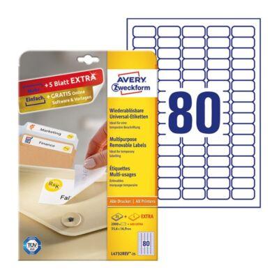 Etikett AVERY L4732REV-25 35,6x16,9mm visszaszedhető 2000 címke/doboz 25 ív/doboz