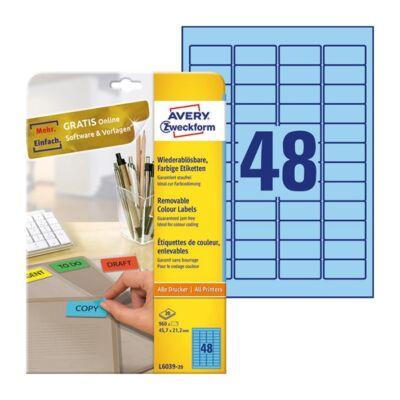 Etikett AVERY L6039-20 45,7x21,2mm univerzális visszaszedhető kék 960 címke/doboz 20 ív/doboz