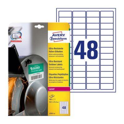 Etikett AVERY L7911-10 45,7x21,2mm ultra ellenálló címke 480 címke/doboz 10 ív/doboz
