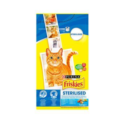 Állateledel száraz PURINA Friskies Sterilcat ivartalanított macskáknak lazaccal és zöldségekkel 1,5kg