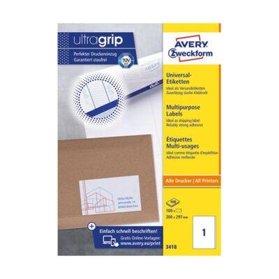 Etikett AVERY 3418 200x297 mm fehér univerzális 100 címke/doboz 100 ív/doboz