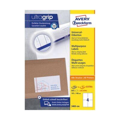 Etikett AVERY 3483-200 105x148 mm fehér univerzális 880 címke/doboz 200+20 ív/doboz