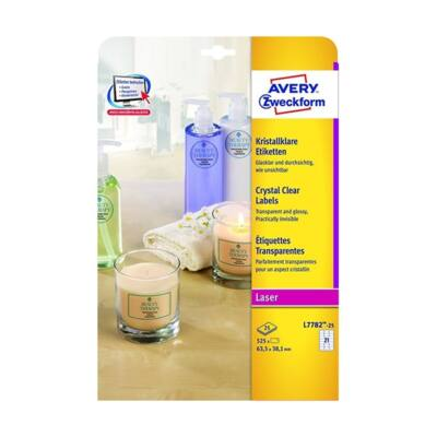 Etikett AVERY L7782-25 63,5x38,1mm víztiszta átlátszó 525 címke/doboz 25 ív/doboz